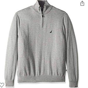 Nautica Gray 1/4 Zip Sweater Pullover Medium